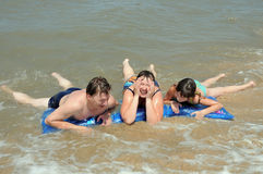 Family on the sea. Summer. royalty free stock images