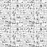 Family seamless pattern child and pets monochrome. Big collection of family symbols. Black and white vector illustration. EPS 8 Royalty Free Stock Photos
