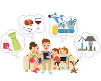 Family searches it with carrying and a tablet. I search it in a net in families happily royalty free illustration