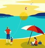 Family seaside leisure relax. Ocean scene view landscape. Hand drawn pop art retro style. Holiday vacation season sea travel leisure. Sea beach recreation stock illustration