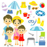 Family seaside pool resort items Royalty Free Stock Image