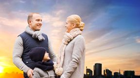 Happy family over sunset in evening tallinn city royalty free stock images