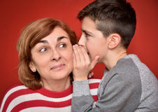 Family secret. Young boy whispering secret into ears of smiling mother Royalty Free Stock Photo