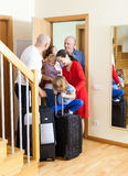 Family seeing off the relatives Stock Image