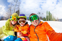 Family selfie on ski resort with little son Stock Photography