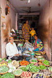 Family selling vegetables, India Royalty Free Stock Photos