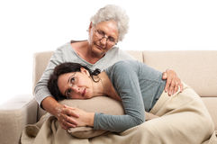 Family senior mother adult woman tenderness Royalty Free Stock Image