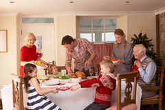Family serving Christmas dinner. At home royalty free stock image