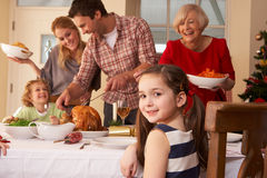 Family serving Christmas dinner. Having fun stock images