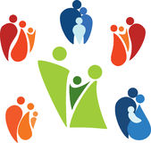 Family set of icons. Set of symbols with happy families Stock Photo