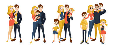 Family set with mom, dad, kids. Characters in cartoon flat style. Vector illustration of family portrait isolated on white background Royalty Free Stock Photography