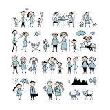 Family set, sketch for your design Stock Photo