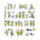 Family set, sketch for your design Royalty Free Stock Image