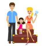 Family sets forth for vacation and sit on suitcases Royalty Free Stock Images