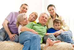 Family of seven people Royalty Free Stock Image