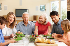 Family sharing meal stock images