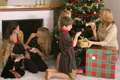Family sharing presents Stock Photography
