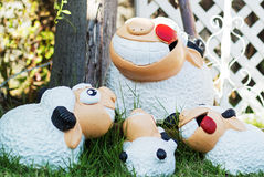 Family sheep doll on the meadow Royalty Free Stock Photography