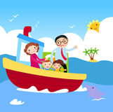 Family in ship. Royalty Free Stock Photography
