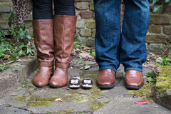 Family shoes. Shoes of mother, father and baby Stock Photos
