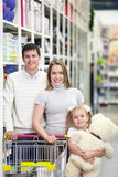 Family in shop Stock Image