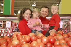 Family in shop Royalty Free Stock Image
