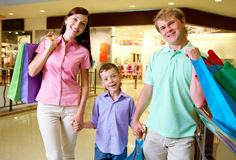 Family of shoppers Royalty Free Stock Images