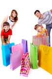 Family of shoppers Stock Photos