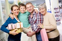 Family of shoppers Stock Photo