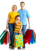 Family shopping. Happy family shopping. Isolated over white background royalty free stock image