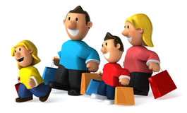 Family shopping. Typical family, 3d generated picture Royalty Free Stock Photo