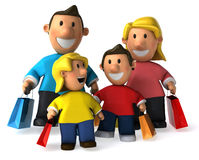 Family shopping. Typical family, 3d generated picture Royalty Free Stock Image