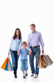 Family shopping. Family with shopping bags on a white background royalty free stock photos
