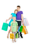 Family shopping. Family with shopping bags on white background stock image