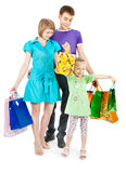 Family shopping. Family with shopping bags on white background royalty free stock photos