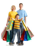 Family shopping. Isolated over white background royalty free stock photography