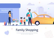 Family Shopping, Cart with Bags, Goods near Car. Family Standing near Car with Shopping Cart Vector Illustration. Buying Things in Market. Mother, Father and stock illustration