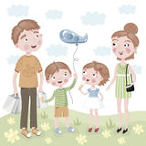 Family Shopping in  cartoon style. Cheerful family, mother, father, daughter and son are smiling and after shopping at the store Royalty Free Stock Photography
