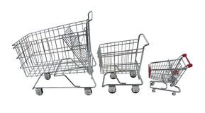Family Shopping Carts Royalty Free Stock Photography