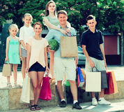 family shopping  in city Stock Image