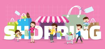 Family shopping concept. Illustration of Dad,son,mom daughter are shopping various actions with elements ,Bag,Shop,Cart in Store around big Letter royalty free illustration