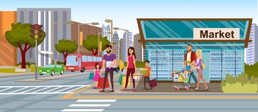 Family Shopping in City Market Flat Vector Concept. Family Shopping Flat Vector Concept with Happy Parents with Kids, Walking on City Street, Carrying Shopping royalty free illustration