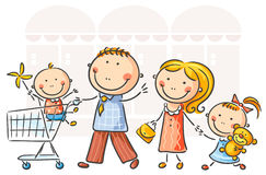 Family shopping. Cartoon family of four doing shopping royalty free illustration