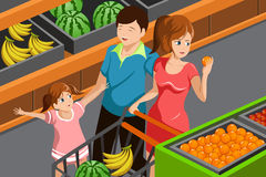 Family shopping grocery Royalty Free Stock Images