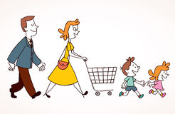 Family shopping. Hand drawn illustration Royalty Free Stock Photos