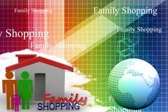 Family shopping Illustration Stock Photography
