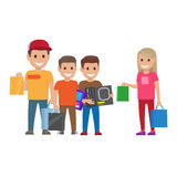 Family Shopping illustration. Shopping Collection royalty free illustration