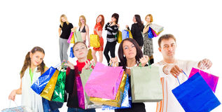 Family shopping isolated over white.  Royalty Free Stock Images