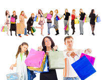 Family shopping isolated over white.  Royalty Free Stock Photography