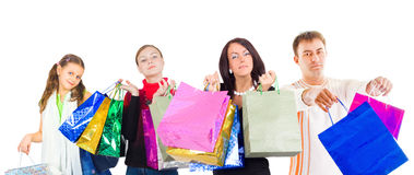 Family shopping isolated over white Stock Image